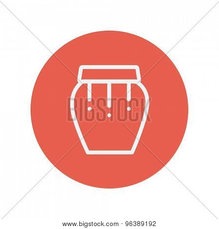 Percussion instrument thin line icon for web and mobile minimalistic flat design. Vector white icon inside the red circle