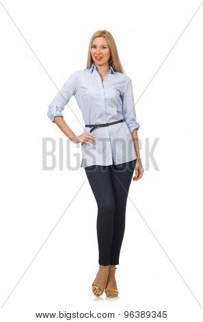 Woman in blue blouse  isolated on white