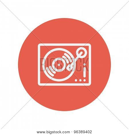 Phonograph turntable thin line icon for web and mobile minimalistic flat design. Vector white icon inside the red circle