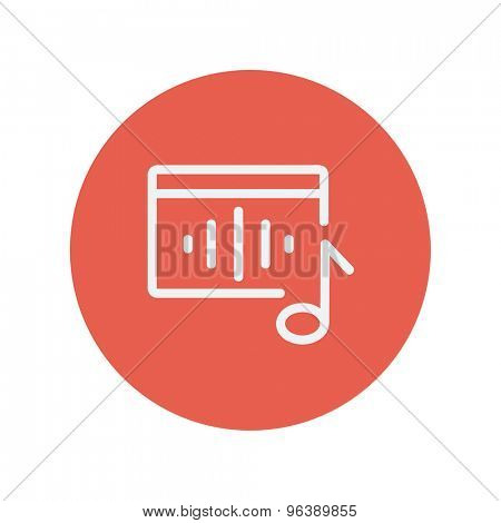 Radio retro thin line icon for web and mobile minimalistic flat design. Vector white icon inside the red circle