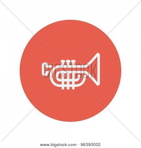 Trumpet thin line icon for web and mobile minimalistic flat design. Vector white icon inside the red circle