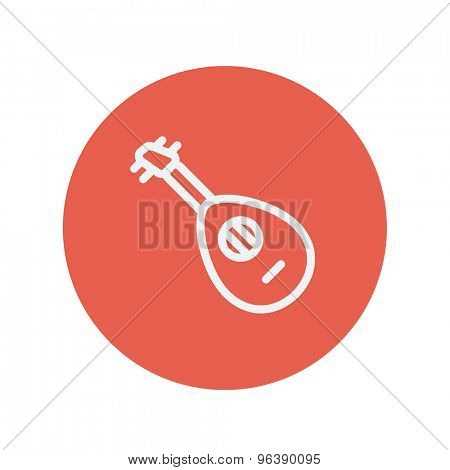 Mandolin guitar thin line icon for web and mobile minimalistic flat design. Vector white icon inside the red circle