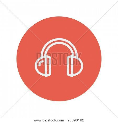 Headphone thin line icon for web and mobile minimalistic flat design. Vector white icon inside the red circle
