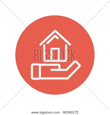 Hand holding house thin line icon for web and mobile minimalistic flat design. Vector white icon inside the red circle