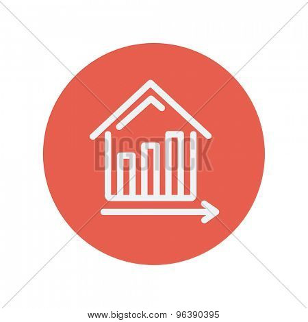 Graph showing financial real estate growth thin line icon for web and mobile minimalistic flat design. Vector white icon inside the red circle