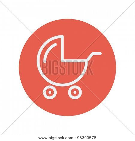 Baby stroller thin line icon for web and mobile minimalistic flat design. Vector white icon inside the red circle
