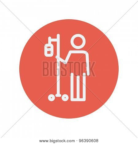 Patient thin line icon for web and mobile minimalistic flat design. Vector white icon inside the red circle