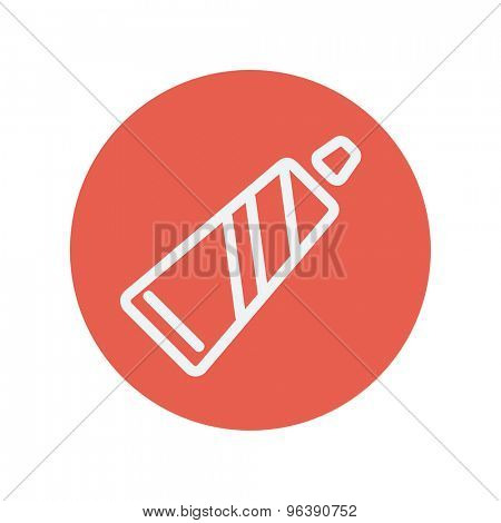 Tube of toothpaste thin line icon for web and mobile minimalistic flat design. Vector white icon inside the red circle