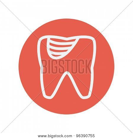 Tooth decay thin line icon for web and mobile minimalistic flat design. Vector white icon inside the red circle