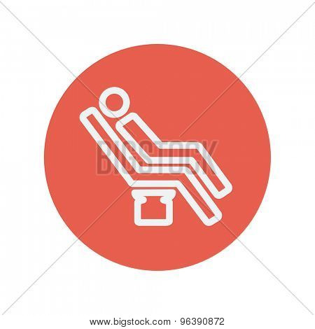 Man sitting on the dental chair thin line icon for web and mobile minimalistic flat design. Vector white icon inside the red circle