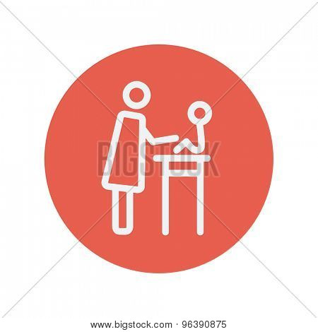 Mother taking care of her baby sitting on high chair thin line icon for web and mobile minimalistic flat design. Vector white icon inside the red circle
