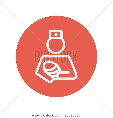 Nurse holding the baby thin line icon for web and mobile minimalistic flat design. Vector white icon inside the red circle