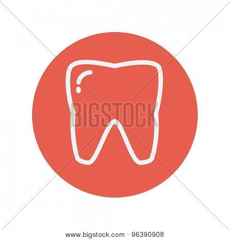 Tooth thin line icon for web and mobile minimalistic flat design. Vector white icon inside the red circle