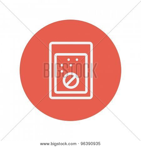 Tablet into a glass of water thin line icon for web and mobile minimalistic flat design. Vector white icon inside the red circle.