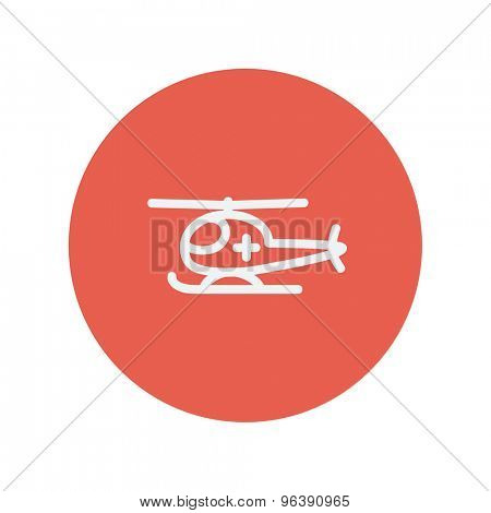 Air ambulance thin line icon Medical symbol thin line icon for web and mobile minimalistic flat design. Vector white icon inside the red circle.