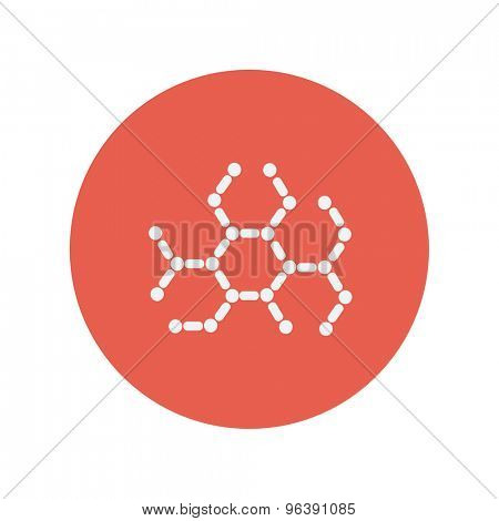 DNA molecules thin line icon for web and mobile minimalistic flat design. Vector white icon inside the red circle.