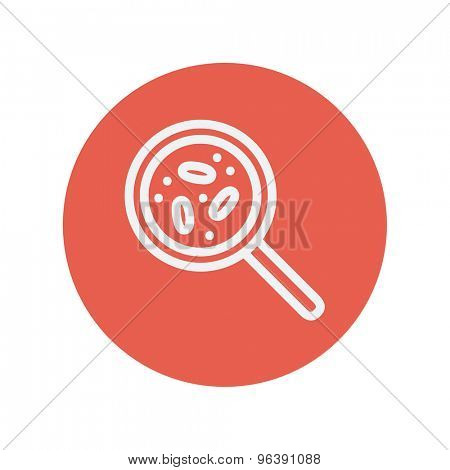 Microorganism under magnifier thin line icon for web and mobile minimalistic flat design. Vector white icon inside the red circle
