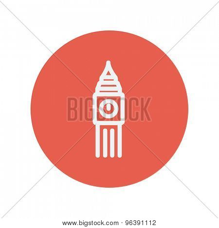 Big ben clock thin line icon for web and mobile minimalistic flat design. Vector white icon inside the red circle.