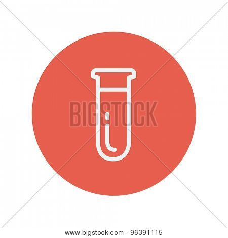 Test tube thin line icon for web and mobile minimalistic flat design. Vector white icon inside the red circle.
