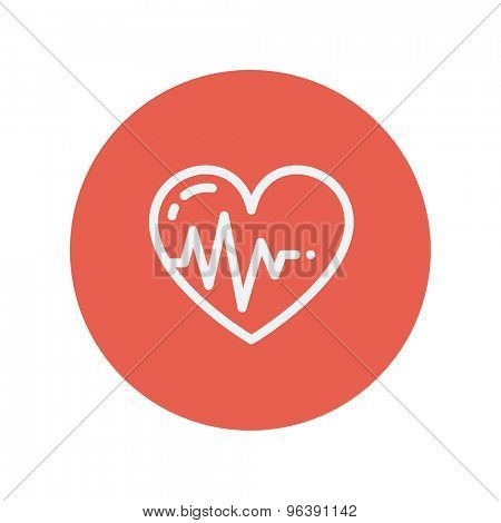 Heart with cardiogram thin line icon for web and mobile minimalistic flat design. Vector white icon inside the red circle.