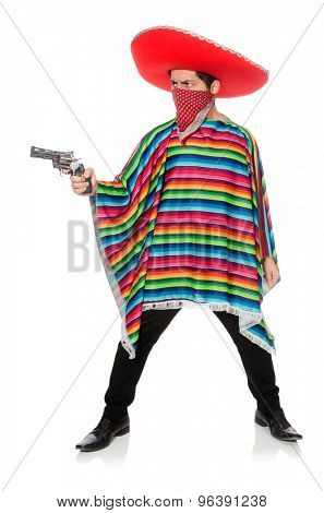 Funny mexican with weapon isolated on white