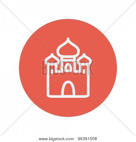 Mosque thin line icon for web and mobile minimalistic flat design. Vector white icon inside the red circle.