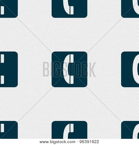 Handset Icon Sign. Seamless Pattern With Geometric Texture. Vector