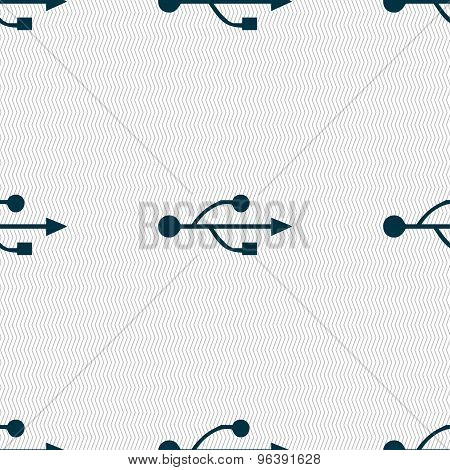 Usb Icon Sign. Seamless Pattern With Geometric Texture. Vector