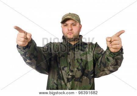 Young man in soldier uniform isolated on white
