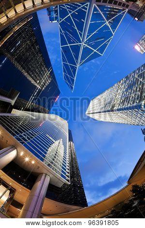 Fisheye view of skyscrapers in Hong Kong