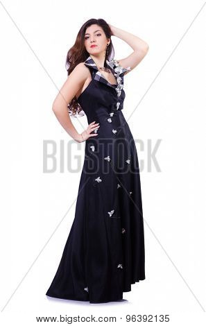 Young girl with brown hair in long dress isolated on white