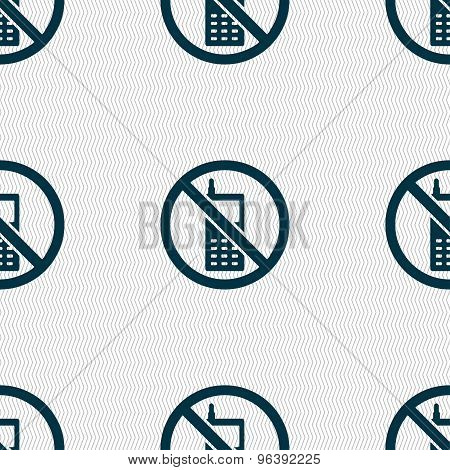 Mobile Phone Is Prohibited Icon Sign. Seamless Pattern With Geometric Texture. Vector