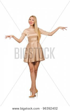 Pretty girl in satin mini dress isolated on white