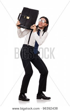 Young manager with briefcase isolated on white