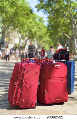 some baggages at the famous Las Ramblas in Barcelona, Spain