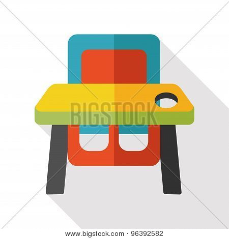 Feeding Table Flat  Icon With Long Shadow