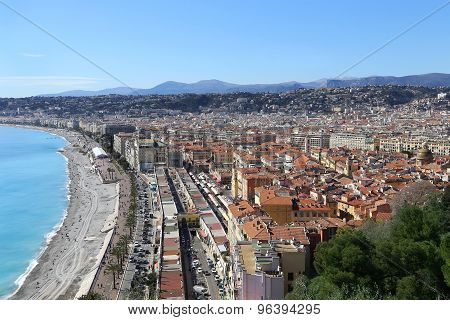 Panoramic View Of Nice Coastline And Old Town, France
