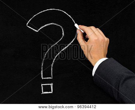 Question Mark Chalk Drawing On Blackboard