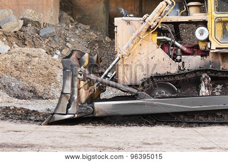 A Large  Bulldozer In Construction Site