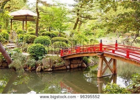 Japanese Style Garden In Hiroshima, Japan