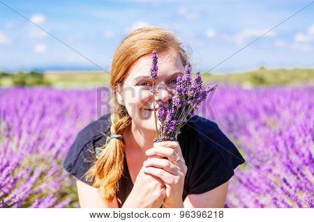 Romantic Woman In Lavender Fields, Having Vacations In Provence,