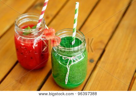 Watermelon And Spinach Smoothie As Healthy Summer Drink.