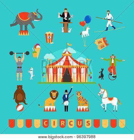 Circus and fun fair elements
