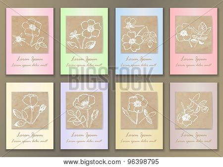 Set Vintage Posters with hand drawn ink roses