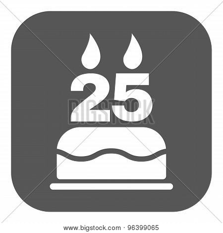 The birthday cake with candles in the form of number 25 icon. Birthday symbol. Flat