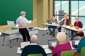 picture of professor  - A vector illustration of adult in a college classroom with professor teaching - JPG