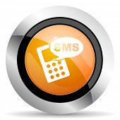 image of sms  - sms orange icon phone sign