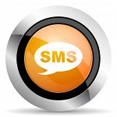 foto of sms  - sms orange icon message sign  - JPG