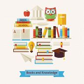 Vector Flat Style Books Education And Knowledge Objects Concept poster