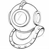stock photo of breastplate  - Vector illustration retro diving helmet made in thumbnail style on a white background - JPG